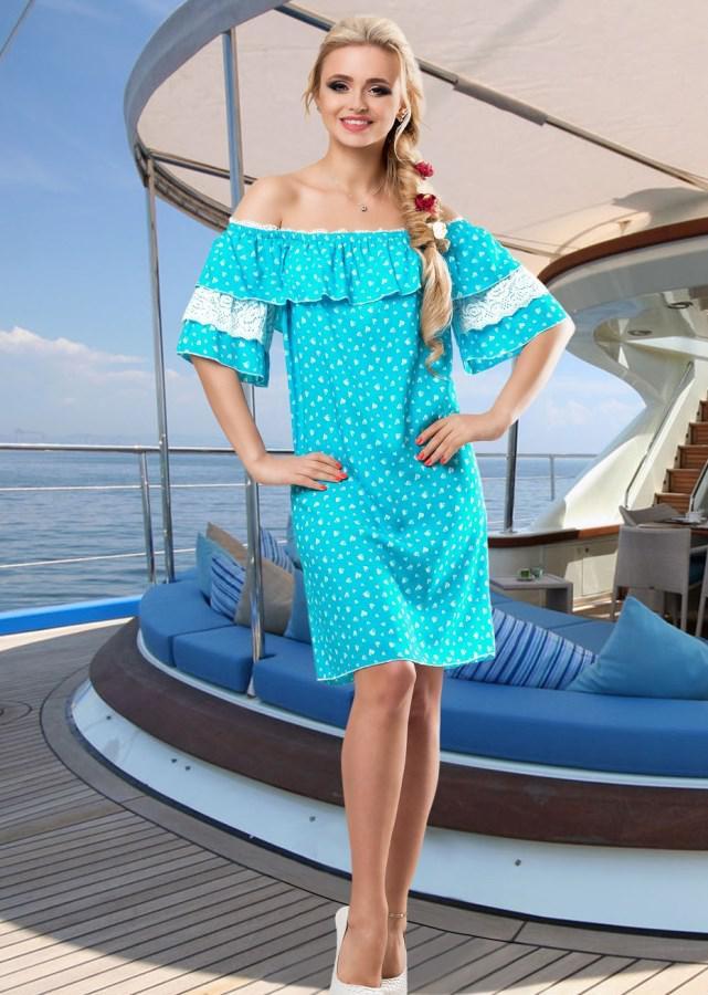Голубое хлопковое летнее платье с поясом Д-1429