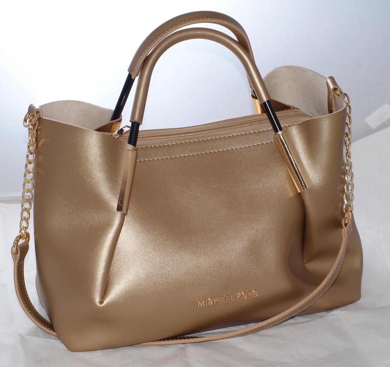 366f3363eb53 Женская сумка Michael Kors (Майкл Корс) с отстёгивающейся косметичкой,  золотистая