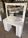 Стол для визажиста, гримерный столик, зеркало с подсветкой, белый, фото 7