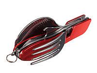 Складной многофункциональный инструмент 4 в 1 (ложка, вилка, нож и открывалка для бутылок)  Красный
