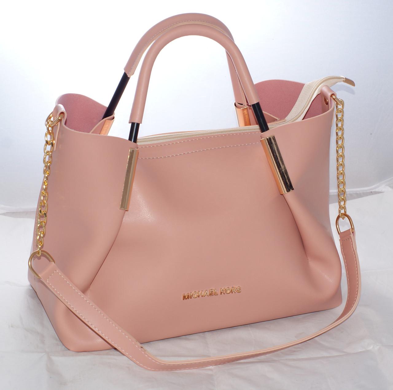 6be18dfbef35 Женская сумка Michael Kors (Майкл Корс) с отстёгивающейся косметичкой,  розовая
