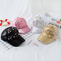 Модная бейсболка для девочки с пайетками и камнями золотая, фото 2