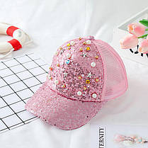 Модная бейсболка для девочки с пайетками и камнями золотая, фото 3