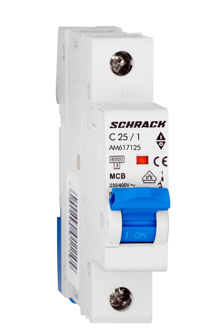 Автоматический выключатель 6кА 1P 25А х-ка C Schrack