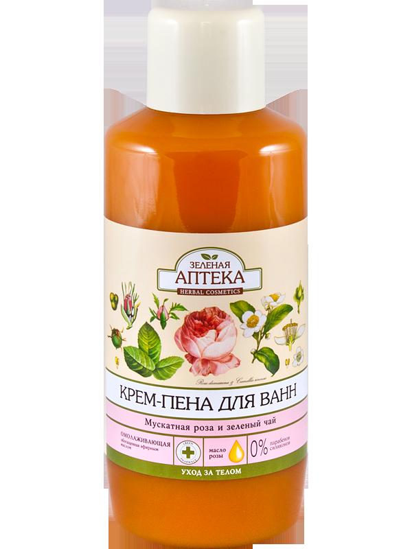 Зеленая Аптека Крем-пена для ванн «Мускатная роза и зеленый чай» 1l.