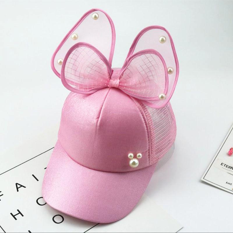 Бейсболка с бантиком для девочки розовая