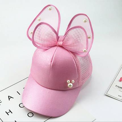 Бейсболка с бантиком для девочки розовая, фото 2