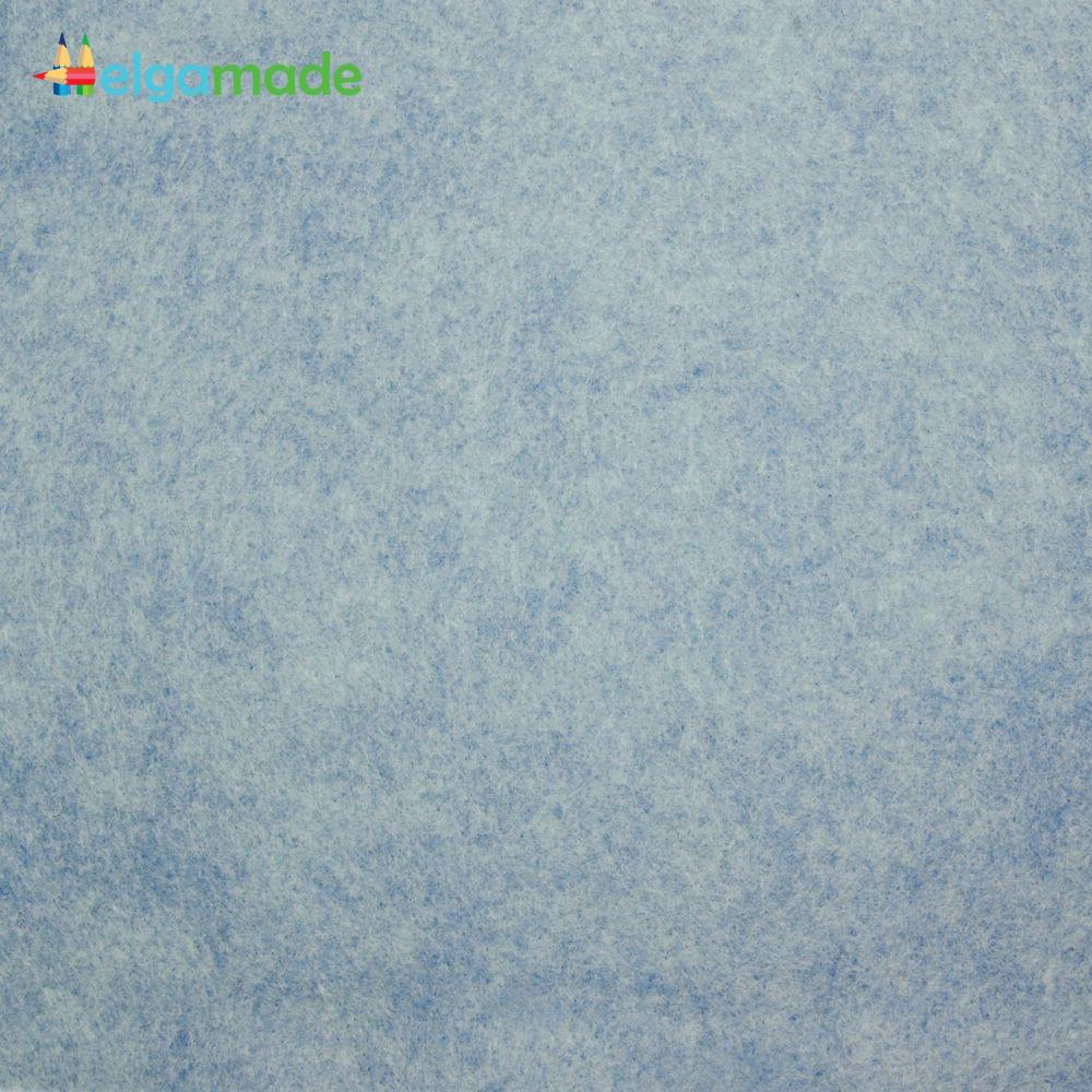 Фетр американский СЕРО-ГОЛУБОЙ меланж, 15x23 см, 1.3 мм, полушерстяной мягкий