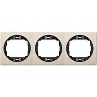 Рамка горизонтальная тройная для фурнитуры Eon кремовая с черной вставкой