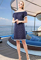 Легкое темно-синее летнее платье из хлопка Д-1436