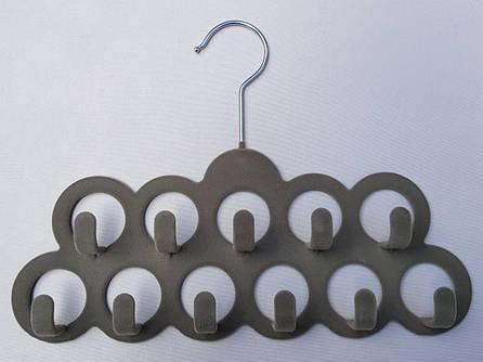 Плечики вешалки флокированные (бархатные) для аксессуаров светло-серого цвета