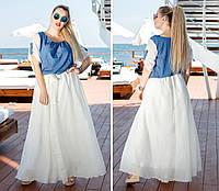 Женское длинное платье летнее шифон + джинс 42,44,46,48,50,52,54,56
