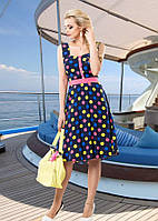 Летнее платье из штапеля в разноцветный горох Д-1437
