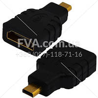 "Переходник штекер micro HDMI - гнездо HDMI, ""позолоченный"", корпус пластик (Тип 2)"