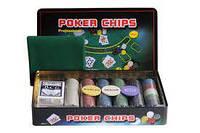 Покерный набор на 300 фишек с номиналом в металлической коробке (Техасский Холдем, Покер)