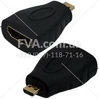 """Переходник штекер micro HDMI - гнездо HDMI, """"позолоченный"""", корпус пластиковый,"""