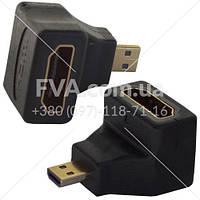 """Переходник штекер micro HDMI - гнездо HDMI, угловой, """"позолоченный"""", корпус пластик,"""