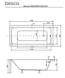 Ванна прямоугольная Besco PMD Piramida Modern, 1600x695х535 мм , фото 4