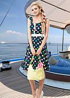 Летнее платье из штапеля в разноцветный горох Д-1438