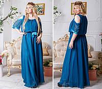 Красивое женское длинное платье шифон 48,50,52,54 (расцветки)
