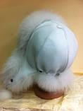 Женская  ушанка белого цвета  с мехом песца , фото 4