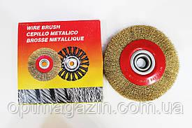 Щетка крацовка утолщенная дисковая, латунная. Щётки по металлу 200мм