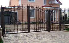 Кованные ворота распашные с калиткой
