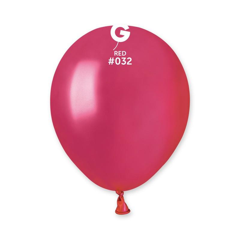 Воздушные шарики Gemar АМ50 металлик красный, (13 см) 100 шт
