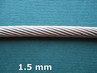 Нержавеющий трос А4, плетение 1х19, диаметр 1,5 мм