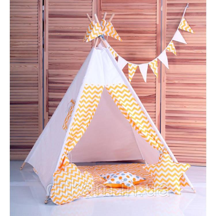 Вигвам Зигзаг желтый. Детская игровая палатка, домик