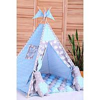 Вигвам Хатка комплект Бонбон Ноченька Голубой с серым с подушками, фото 1