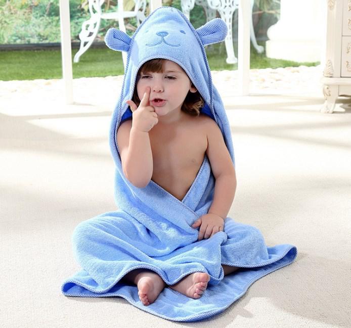 Дитячий рушник з капюшоном синій ведмедик