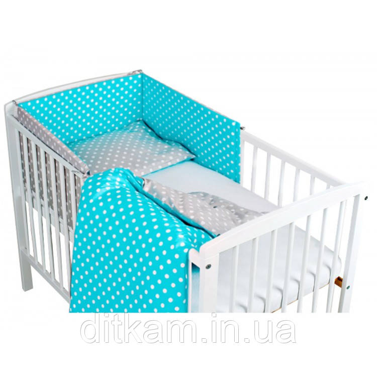 Комплект в кроватку Хатка 6 в 1 Вдохновение бирюзовый с серым