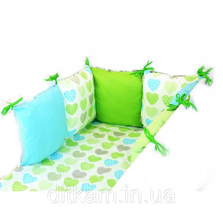 Комплект в кроватку Хатка 9 в 1 Сердечки зеленый