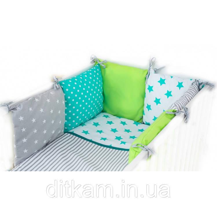 Комплект в кроватку Хатка 9 в 1 Утро зеленый с мятным