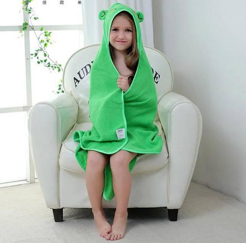 Полотенце для детей с капюшоном зеленый мишка