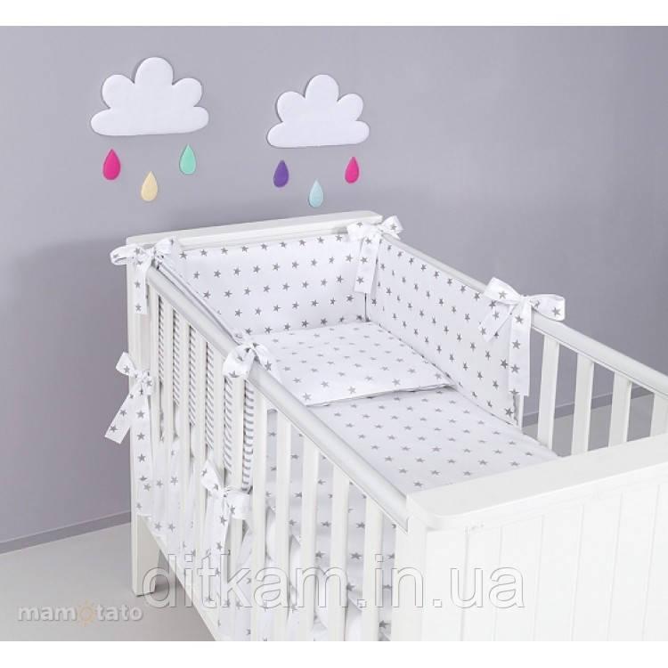 Комплект в кроватку Хатка 6 в 1 серые звезды на белом