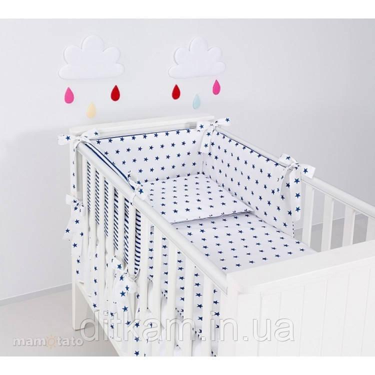 Комплект в кроватку Хатка 6 в 1 синие звезды на белом