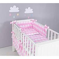 Комплект в кроватку Хатка 6 в 1 Слоны розовый