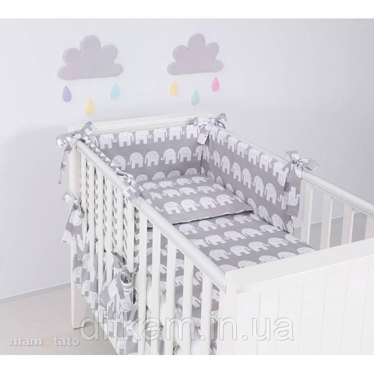 Комплект в кроватку Хатка 6 в 1 Слоны серый