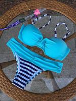Роздільний Купальник жіночий блакитний з пуш ап і трусами в смужку опт