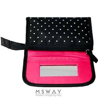 Reed - Косметичка 7621 Pink surprise черная белый горох,прямоугольная плоская зеркало маленькая 16,5x4,5х9,5см, фото 2