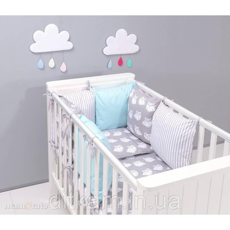 Комплект в кроватку Хатка 9 в 1 Совы мята с серым