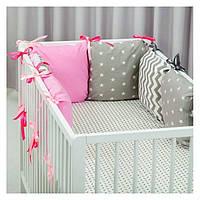 Комплект в кроватку Хатка 9 в 1 для девочки серый с розовым