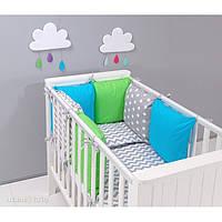 Комплект в кроватку Хатка 9 в 1 Небесный, зеленый с серым