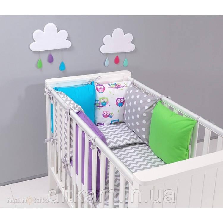 Комплект в кроватку Хатка 9 в 1 Совы серый с фиолетовым, синим и зеленым