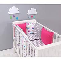 Комплект в кроватку Хатка 9 в 1 Совы розовый с серым