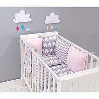 Комплект в кроватку Хатка 17 в 1 Слоны розовый с серым