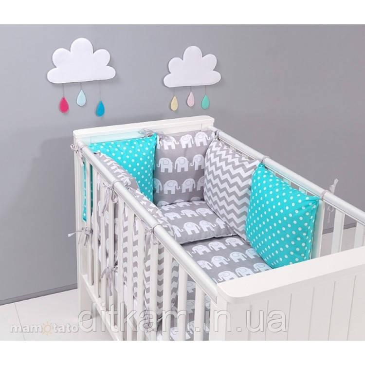 Комплект в кроватку Хатка 9 в 1 Слоны серый с мятным