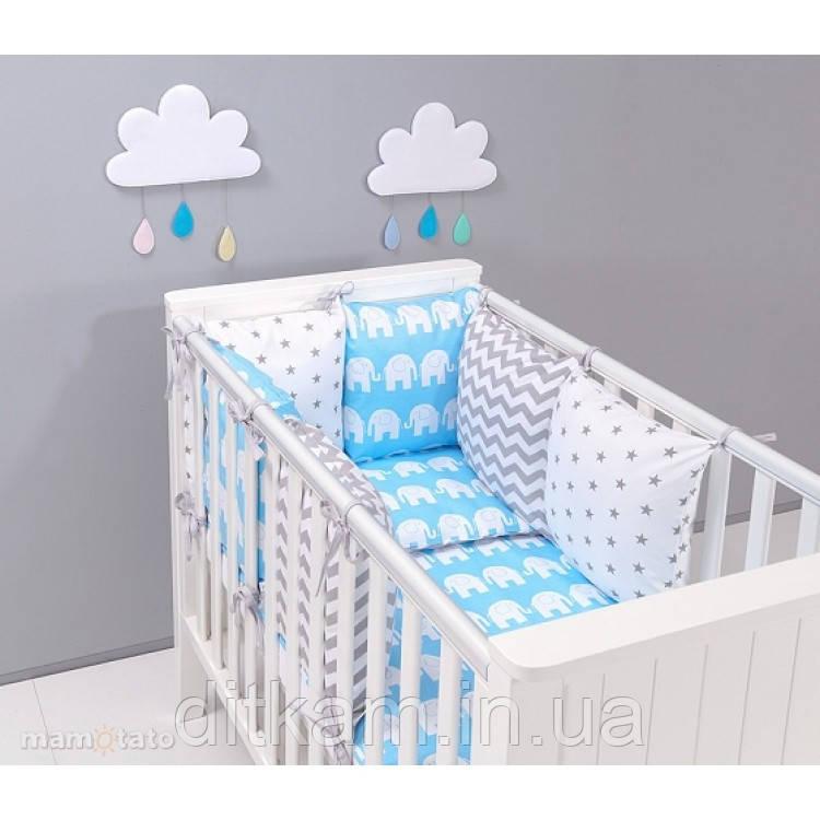 Комплект в кроватку Хатка 9 в 1 Слоны на голубом с серыми звездами